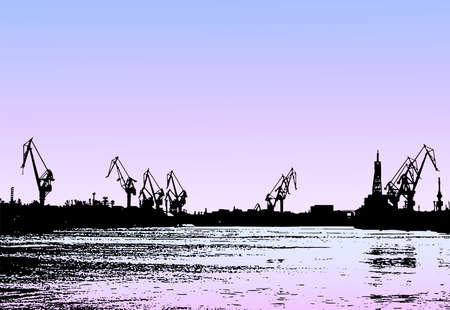 Vector drawing of evening seascape with silhouette industrial port