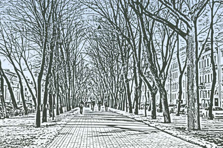 Vector illustration of cityscape with walkway perspective in trees alley on spring day Illusztráció