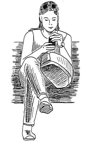 Sketch of young student girl sitting on park bench with smartphone