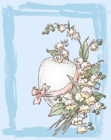 Vector greeting card with sketch easter egg and bouquet lilies-of-the-valley Illusztráció