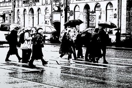 Vector illustration of cityscape in rainy weather with townspeople under umbrellas crossing street on pedestrian zebra Illusztráció