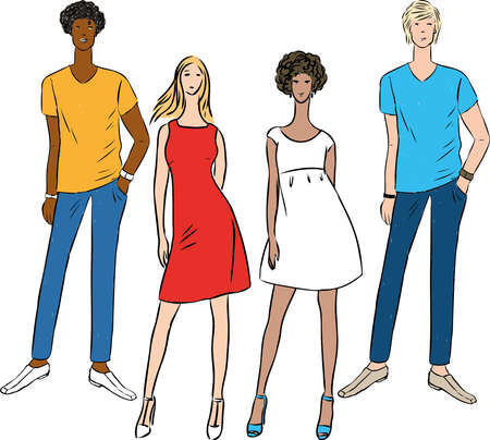 Vector image of group young slim people in summer clothing