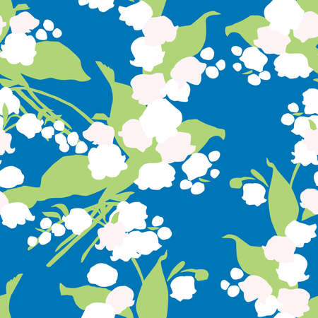 Seamless pattern of bunches lilies of the valley Illusztráció