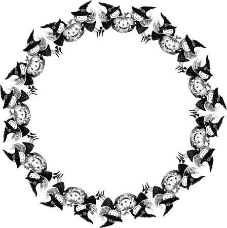 Decorative round frame from sketches flying Halloween elves witches with pumpkins Illusztráció