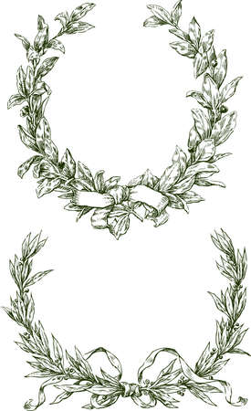 Freehand drawings of triumphal laurel branches with ribbons