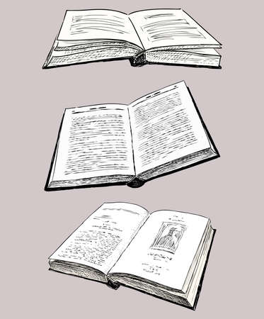 Freehand drawings of printed opened old books