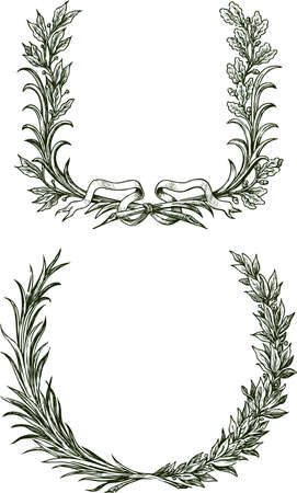 Freehand drawings of triumphal laurel and oak branches with ribbon