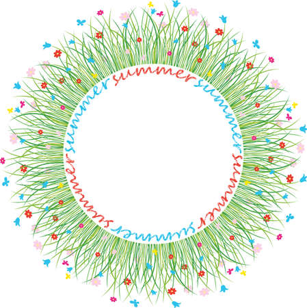 Vector decorative round frame from green grass and colorful daisies