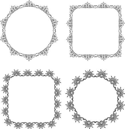 Vector drawings of decorative vintage round and square frames