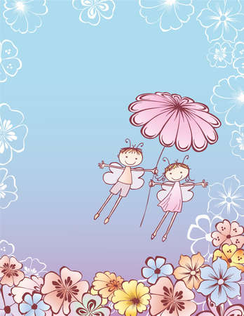 Vector illustration of pair cheerful elves flying with camomile flower Ilustración de vector