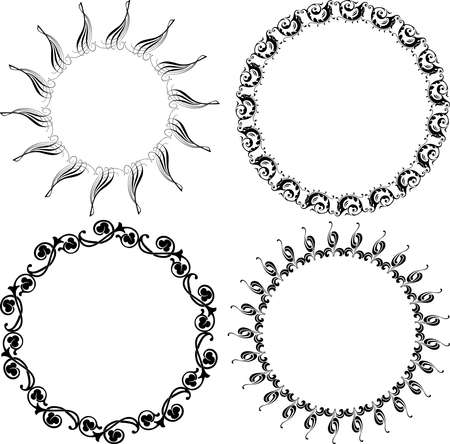 Vector drawing of set decorative round frames in retro style