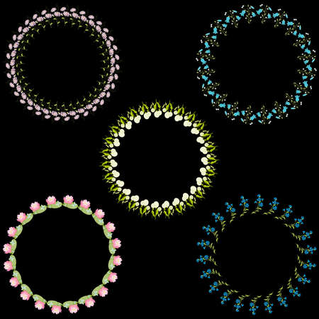 Vector image of set decorative floral round frames from various wildflowers