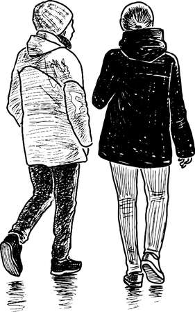 Sketch of teen students girls walking together outdoors