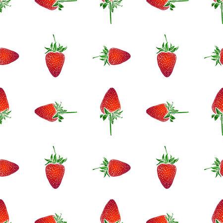 Seamless pattern of drawn red ripe strawberries