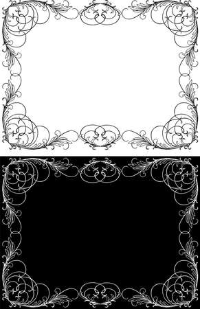 Vector decorative frames with tendrils and leaves in vintage style