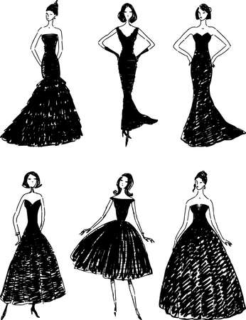 Vector drawings of silhouettes slim women in evening gowns