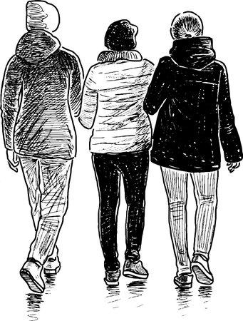 Sketch of teenage girls students walking together outdoors Illusztráció