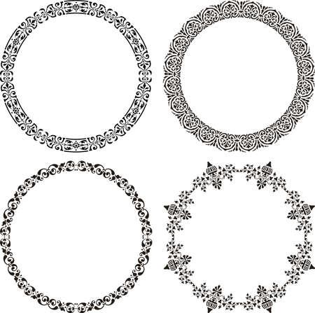 Vector image of set decorative round frames in vintage style Illusztráció