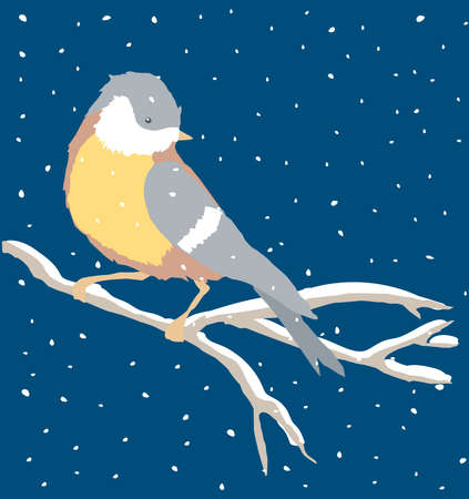 Vector illustration of titmouse sitting on tree branch on snowy winter day