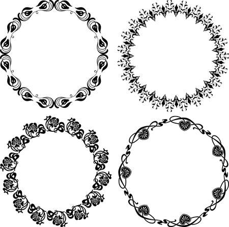 Vector drawing of set decorative floral round frames in vintage style