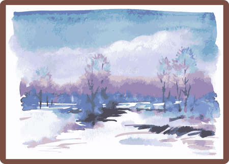 Vector watercolor illustration of winter landscape in picture frame