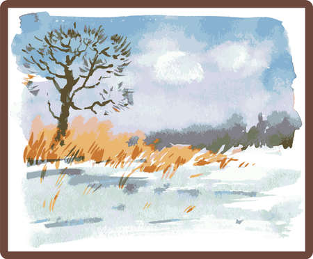 Vector watercolor image of winter landscape in picture frame Illusztráció