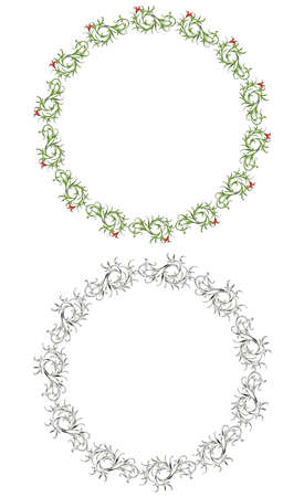 Vector drawing of decorative floral round frames in vintage style