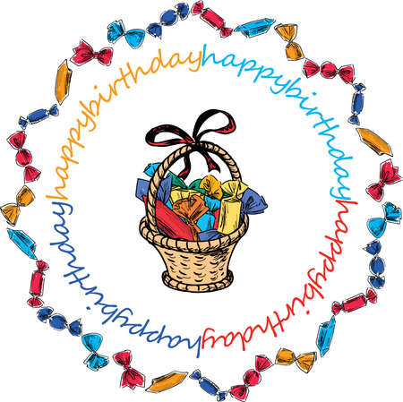 Sketch of gift basket with various chocolate sweets in round frame from drawn colorful candies