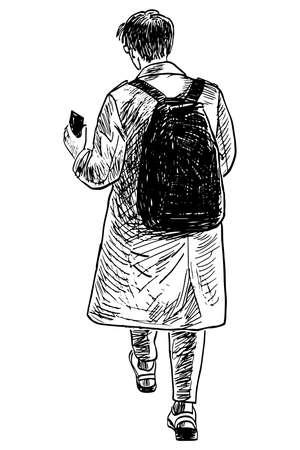 Sketch of casual young person with smartphone walking outdoors Illusztráció