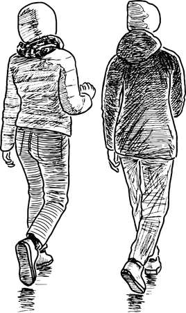 Freehand drawing of teen school girls walking together outdoors