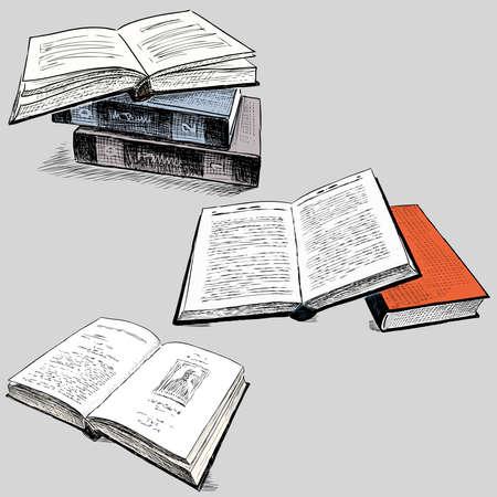 Vector drawings of various old printed books Illusztráció