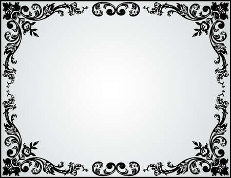 Vector greeting card with floral vintage decorative frame