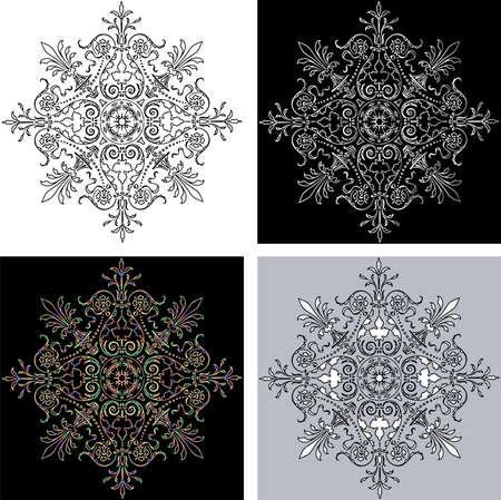 Vector drawing of ornate vintage design element in various colors