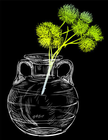 Vector drawing of green wild plant in glass vase Illusztráció