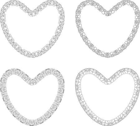 Set of outlines decorative heart shapes in art nouveau style Illusztráció