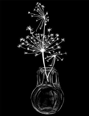 Vector drawing of silhouette umbrella flower in glass vase