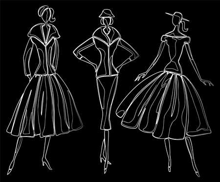 Vector contour drawings of fashionable slim women in retro costumes