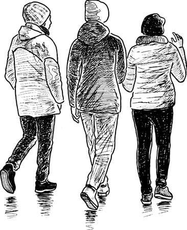 Sketch of friends school girls walking together outdoors
