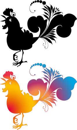 Vector drawing of silhouette decorative fantasy cock Illusztráció