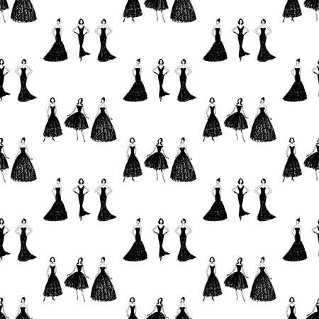 Seamless pattern of silhouettes slim women in evening gowns Illusztráció