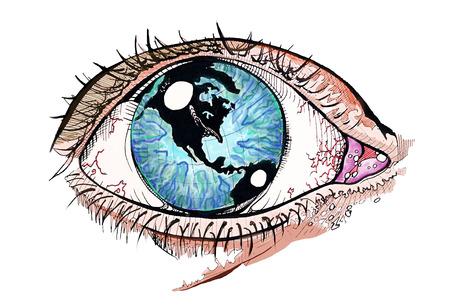 세계에서 그녀의 눈 원래 그림 일러스트