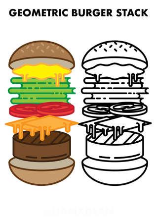 Geometric Burger Anatomy Falling Stack Line Art & Solid Vector Illustration Set Vettoriali