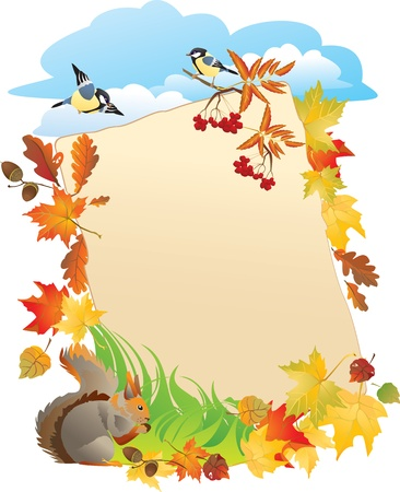 acorn squirrel: portrait frame with Autumn Leafs  Illustration