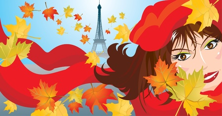 Cute woman face with red scarf and beret and maple leafs and eiffel on background - autumn paris landscape picture  Vector