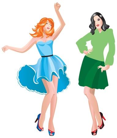 ふだん着: 2 非常にカジュアルな服装でドレスアップの女の子