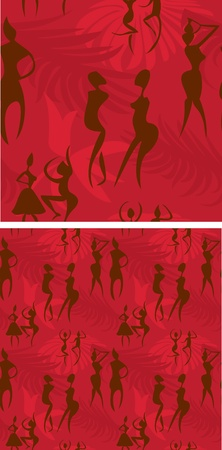Ethnic seamless pattern - background with african figures & ornaments Vector