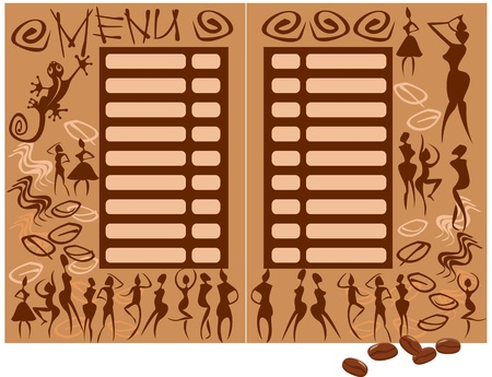 coffee shop: concept for coffee shop menu (afrikan figures)