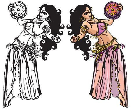 danza del vientre con pandero (negro y fotografías en blanco y color) Foto de archivo - 11101452