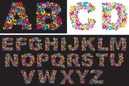 Alphabet - colorfull butterfly letters