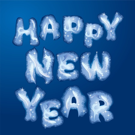 Postcard Happy New Year - words are made by hoarfrost  Vector